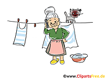 Nonna con il cellulare che fa il bucato clipart, foto, fumetti