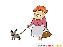 La nonna cammina con l'immagine del cane, clip art, illustrazione