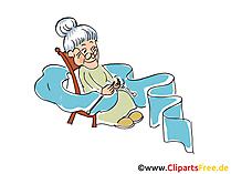 Nonna lavora a maglia cartoni animati, clipart, foto, illustrazioni