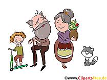 おじいちゃんとおばあちゃんと孫のクリップアート、イラスト、画像