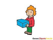 パッケージ配達イメージ、クリップアート、イラスト、グラフィック、無料デッサン