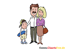 Papa, Mama, Sohn, Familie Clip Art, Illustration, Grafik