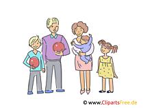 Papa, Mama, Sohn, Tochter Clipart, Illustration, Bild