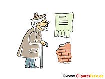 Il pensionato legge l'annuncio sul muro clip art, foto, illustrazione