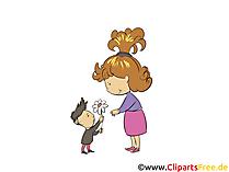 Il figlio si congratula con la foto della mamma, la clip art, l'illustrazione