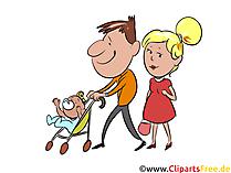 散歩に行く、若い家族のクリップアート、イラスト、絵