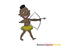 Uomo primitivo con ballerino di balletto con arco di tiro con l'arco