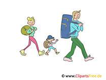Vater mit Kindern machen Ausflug, Urlaub Clipart, Bild, Illustration