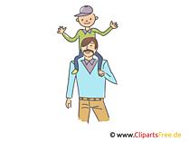 父は息子を肩に乗せた。クリップアート、イラスト、絵