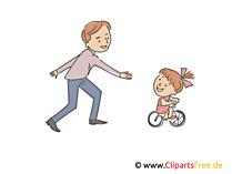 Vater und Kind auf dem Fahrrad Clipart, Illustration, Bild