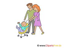 Vater und Mutter mit Kinderwagen Bild, Illustration, Clipart