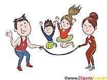 父と母が子供たちと遊ぶ、ジャンプクリップアート、イラスト、絵