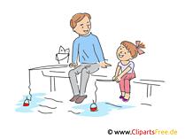 Vater und Tochter beim Angeln Clipart, Illustration, Bild