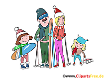 Winterurlaub, Familienurlaub Clipart, Illustration, Bild
