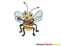 Biene spielt Gitarre Comic, Cartoon, Clipart, Bild, Zeichnung, Illustration gratis