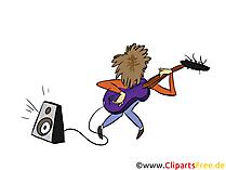 Suonare l'illustrazione dell'immagine di clip art del fumetto della chitarra