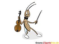 Cricket con violino clip art, foto, illustrazione
