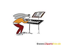 Coniglietto che suona l'illustrazione dell'immagine di clip art del fumetto del pianoforte