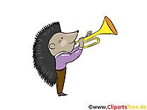 Riccio che suona la tromba immagine, clip art, illustrazione