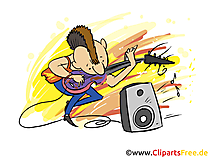 Musicista rock che suona la chitarra sul palco clipart, fumetti, foto, illustrazioni