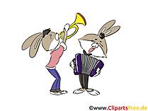 Suonare la tromba e la fisarmonica clip art, foto, illustrazioni
