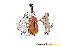 Suonare il violoncello Clipart, foto, fumetti