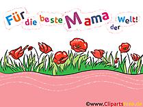 Anneler gününde anne için tebrik kartı