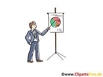 Clipart eine Figur präsentiert auf einem Whileboard