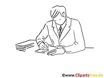 Clipart schwarz-weiss Mann am Schreibtisch