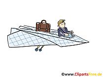 Dienstreise mit Flugzeug Clipart, Grafik, Bild, Cartoon