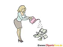 Elegante Frau giesst Clipart Büroarbeit
