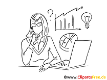 Elegante Frau im Büro - Cliparts schwarz-weiss