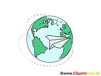 Erdkugel und Papierflugzeug Clipart, Grafik, Bild