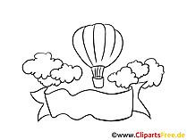 Flug mit Luftballon Clipart, Bild, Zeichnung