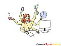 Frau arbeitet im Büro Clipart, Grafik, Bild