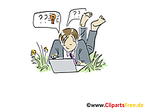Freelancer arbeitet am Laptop Clipart, Grafik, Bild