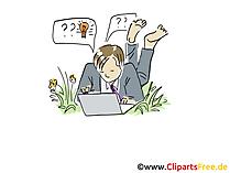 Freelancer arbeitet am Laptop Clipart, Grafik, Bild