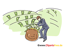 Garten mit Geld Clipart, Grafik, Bild, Cartoon