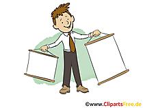 Geschaeftsmann mit leerem Plakat Clipart, Bild, Grafik