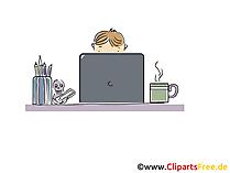Junger Mann arbeitet am Notebook Cartoon, Clipart, Bild, Illustration