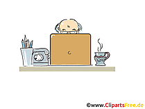 Opa surft im Internet am Laptop Cartoon, Clipart, Bild, Illustration