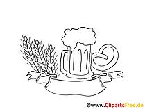 Bierkrug Bild, Illustration, Clipart, Grafik schwarz-weiss