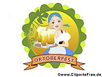 Clipart Oktoberfest, Mädchen, Bier