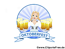 Девушка с бокалами пива на Октоберфест картинка, клипарты