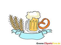 Krug mit Bier und Brezel Clipart, Bild, Grafik, Illustration gratis