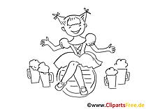 Mädchen auf Oktoberfest Bild, Illustration, Clipart, Grafik schwarz-weiss