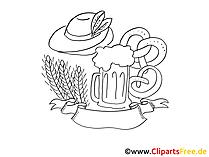 Schwarz-weiss Clipart zum Oktoberfest