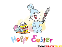 イースターのウサギ、グリーティングカードとしてイースターエッグとイースターの写真