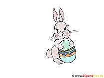 Frohe Ostern Clipart mit Osterhase und Osterei