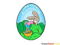 Grußkarte zu Ostern mit Ei und Kaninchen